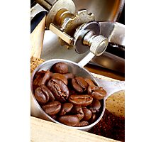 Espresso Beans on Their Way 2 the Coffee Mill Photographic Print