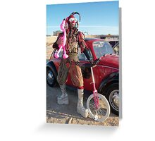 Jester, unicycle & pink flamingo Greeting Card