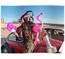 Jester, Flamingo & fan Poster