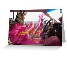 Giraffe Man plays guitar & drives Greeting Card