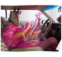 Giraffe Man plays guitar & drives Poster