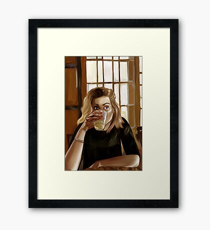 Girl with blond hair and blue eyes drinking lemonade Framed Print