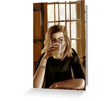 Girl with blond hair and blue eyes drinking lemonade Greeting Card