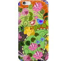 Colourful faux vintage flowers, swirls & love birds iPhone Case/Skin