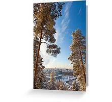City horizon on a cloudless winter day Greeting Card