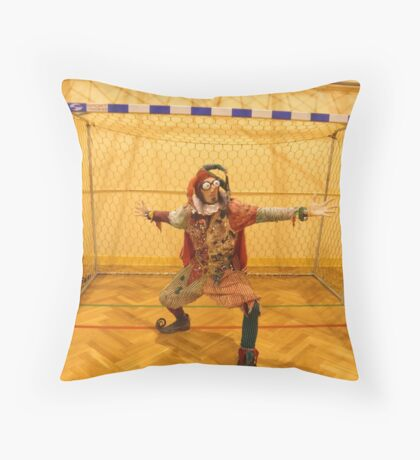 Jester Playing Soccer Throw Pillow