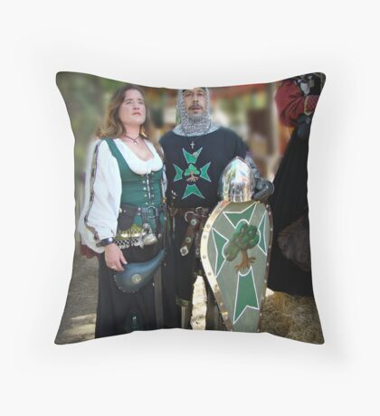 """""""Knight And His Lady"""" Throw Pillow"""