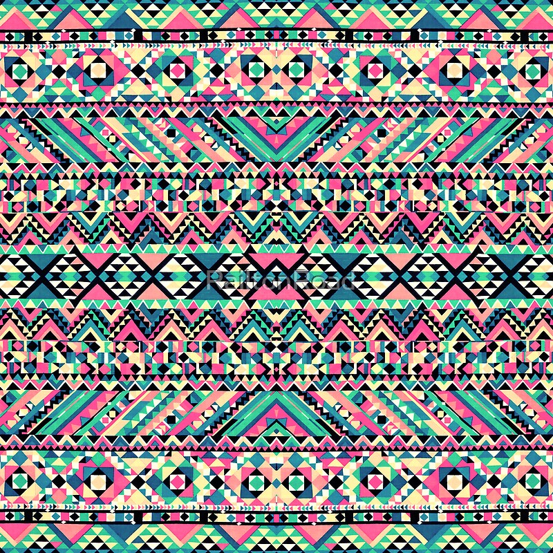 """""""Pink Turquoise G... Pastel Aztec Pattern Wallpaper"""