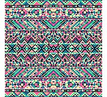 Pink Turquoise Girly Aztec Andes Tribal Pattern Photographic Print