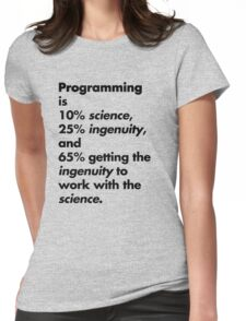 Programming is 10% science, 25% ingenuity and 65% getting the ingenuity to work with the science.  Womens Fitted T-Shirt