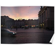 Square at sunset Poster