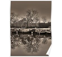 Winter on the Canal Sepia Poster
