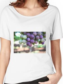 Ripe grapes on a vine in a vineyard  Women's Relaxed Fit T-Shirt