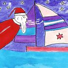 Santa blowing air to move my sailboat by OraMorrison