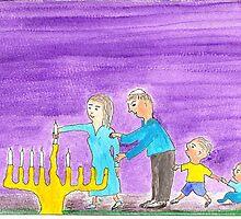 Lighting Hanukkah Candles by OraMorrison