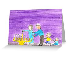 Lighting Hanukkah Candles Greeting Card
