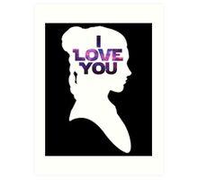 Star Wars Leia 'I Love You' White Silhouette Couple Tee Art Print