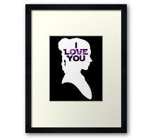 Star Wars Leia 'I Love You' White Silhouette Couple Tee Framed Print