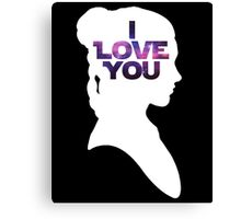 Star Wars Leia 'I Love You' White Silhouette Couple Tee Canvas Print
