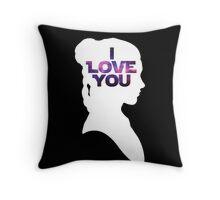 Star Wars Leia 'I Love You' White Silhouette Couple Tee Throw Pillow