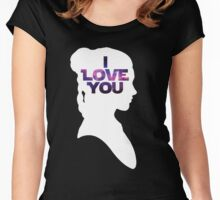 Star Wars Leia 'I Love You' White Silhouette Couple Tee Women's Fitted Scoop T-Shirt