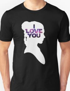 Star Wars Leia 'I Love You' White Silhouette Couple Tee Unisex T-Shirt