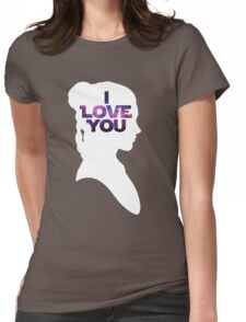 Star Wars Leia 'I Love You' White Silhouette Couple Tee Womens Fitted T-Shirt