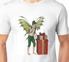 Christmas Fairy Elf Boy with Pile of Presents Unisex T-Shirt