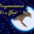 Congratulation&#x27;s It&#x27;s A Girl Bunny Rabbit by jkartlife