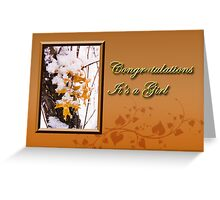Congratulations It's A Girl Leaves Greeting Card