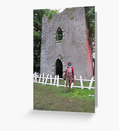 Jester in front of castle Greeting Card