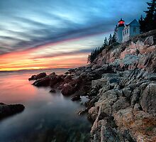 Lighthouse on a Cliff at Sunset by George Oze
