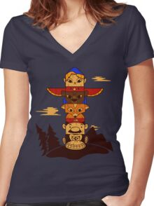 64bit Totem Pole Women's Fitted V-Neck T-Shirt