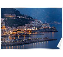 Amalfi Night Vista Poster