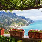 Scenic Amalfi Coast View from Under a Trellis by George Oze