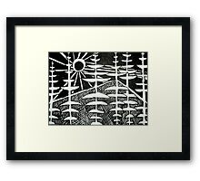 Suns rays, pines and mist. Framed Print