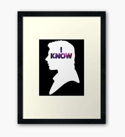 Star Wars Han 'I Know' White Silhouette Couple Tee  Framed Print