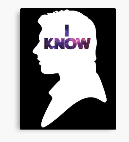 Star Wars Han 'I Know' White Silhouette Couple Tee  Canvas Print