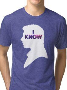 Star Wars Han 'I Know' White Silhouette Couple Tee  Tri-blend T-Shirt