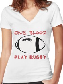 GIVE BLOOD PLAY RUGBY Women's Fitted V-Neck T-Shirt