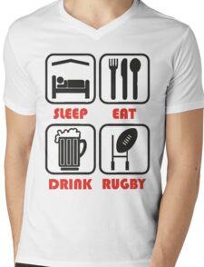 EAT SLEEP RUGBY Mens V-Neck T-Shirt