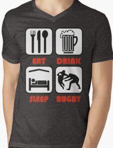 EAT SLEEP TACKLE Mens V-Neck T-Shirt