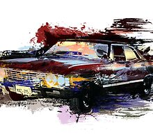 Baby Supernatural 67 Impala Watercolor by Tracey Gurney