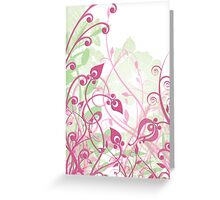 Pink and green flowery Greeting Card