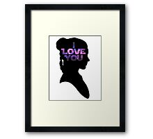 Star Wars Leia 'I Love You' Black Silhouette Couple Tee Framed Print