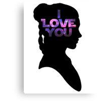 Star Wars Leia 'I Love You' Black Silhouette Couple Tee Canvas Print