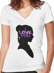Star Wars Leia 'I Love You' Black Silhouette Couple Tee Women's Fitted V-Neck T-Shirt