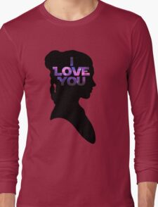 Star Wars Leia 'I Love You' Black Silhouette Couple Tee Long Sleeve T-Shirt