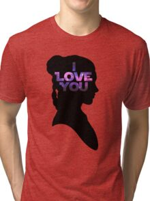 Star Wars Leia 'I Love You' Black Silhouette Couple Tee Tri-blend T-Shirt