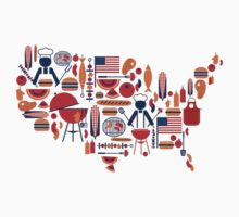 America's Map Celebration Patriotic BBQ T-Shirt by CroDesign
